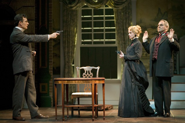 Mark Capri, Libby West and Laurence Ballard in 'Sherlock Holmes' at Pasadena Playhouse. Photo by Tim Fuller
