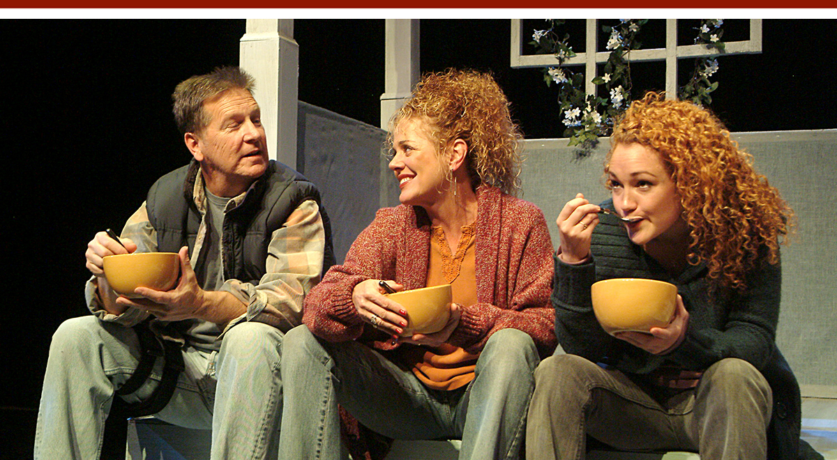 Matthew Reidy, DeeDee Rescher, and Joanna Strapp in The Pursuit of Happiness at the Laguna Playhouse. Photo by Ed Krieger