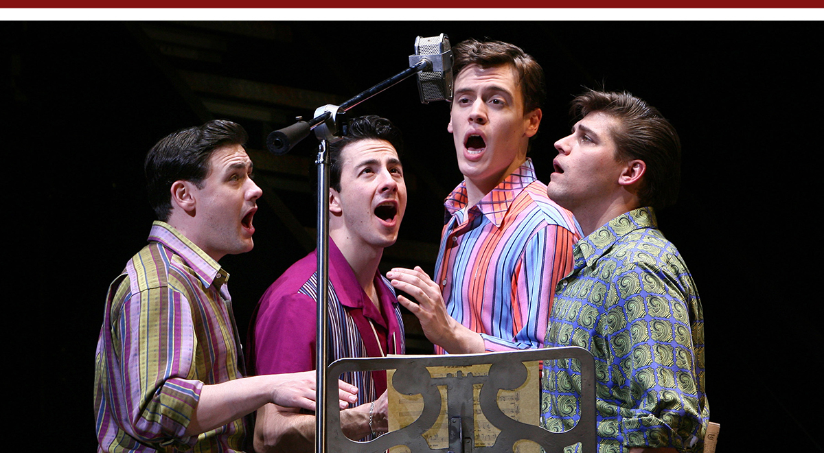 Michael Ingersoll, Christopher Kale Jones, Erich Bergen and Deven May in 'Jersey Boys' at the Ahmanson