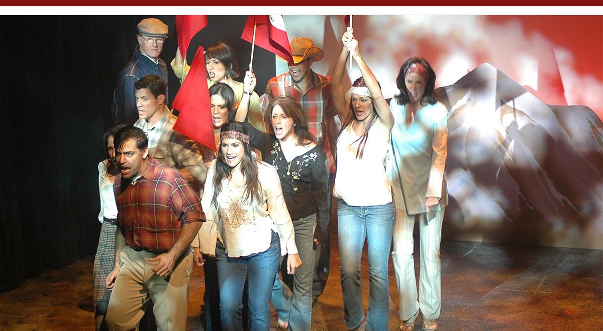 The cast of 'Cesar & Ruben,' Daniel Bolero and Tiffany Ellen Solano foreground; Ed Begley Jr. top left