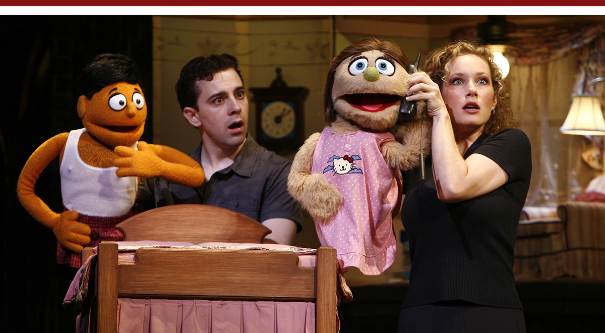 Robert McClure, Kate Monster and Kelli Sawyer in 'Avenue Q' at the Ahmanson Theatre. Photo by Carol Rosegg