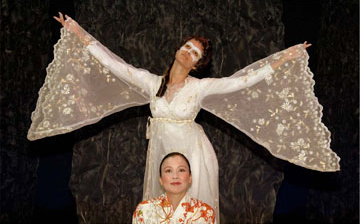 Brenda Hattingh and Kim Hoy in 'Calling Aphrodite' at International City Theatre