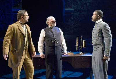 Eric Lutes, Richard Doyle, and Cedric Sanders in 'Matter of Honor' at Pasadena Playhouse. Photo by Craig Schwartz