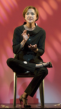 """Julie White in Douglas Carter Beane's """"The Little Dog Laughed,"""" at the Kirk Douglas Theatre Photo by Craig Schwartz"""