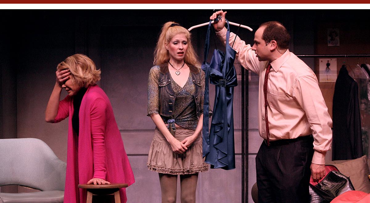 Joan Rivers, Emily Kosloski and Adam Kulbersh in 'Joan Rivers: A Work in Progress by a Life in Progress' at the Geffen Playhouse. Photo by Michael Lamont