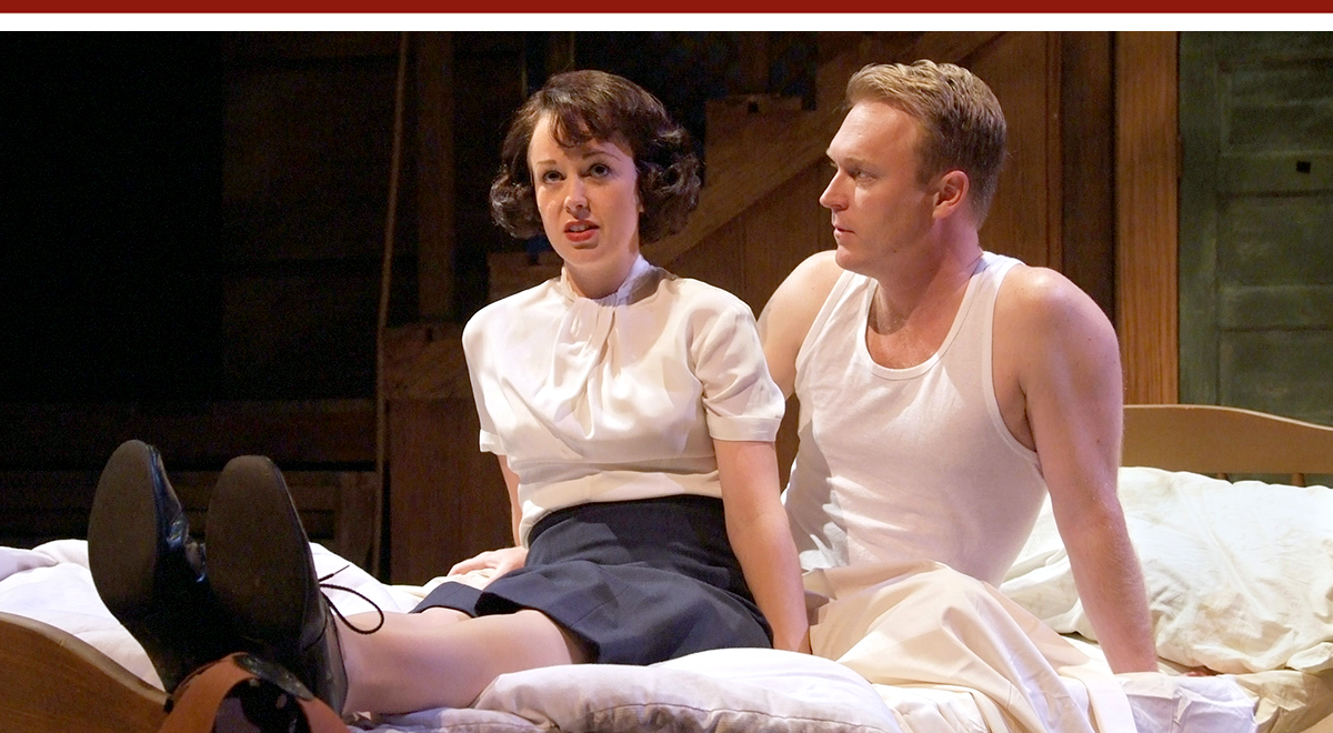 Kirsten Potter and Brendan Ford in 'Red Herring' at the Laguna Playhouse. Photo by Ed Krieger
