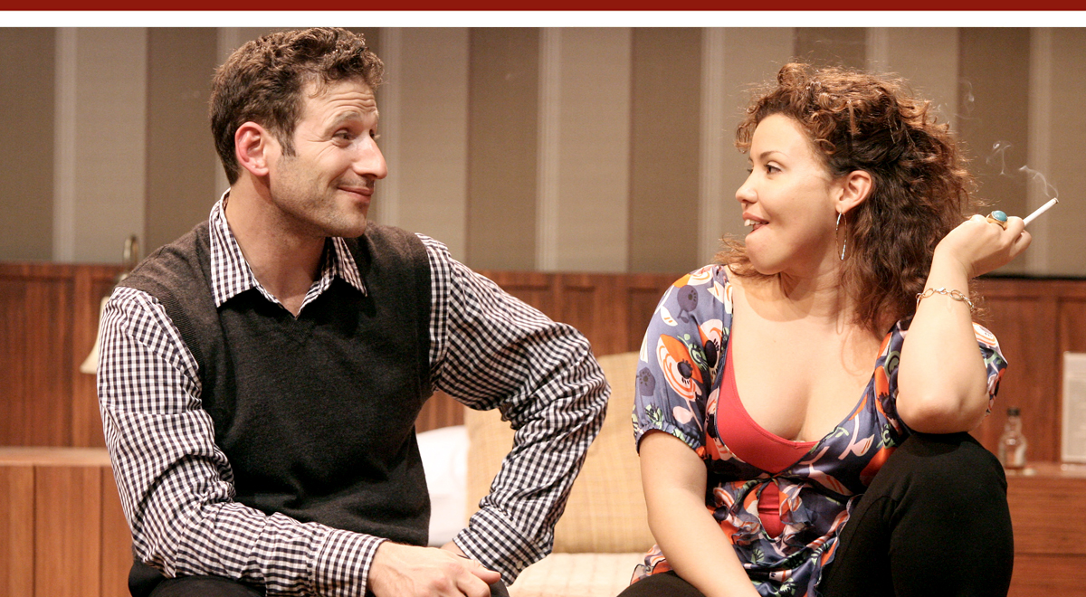 Marc Feuerstein and Justina Machado in 'Some Girl(s)' at the Geffen Playhouse. Photo by Michael Lamont