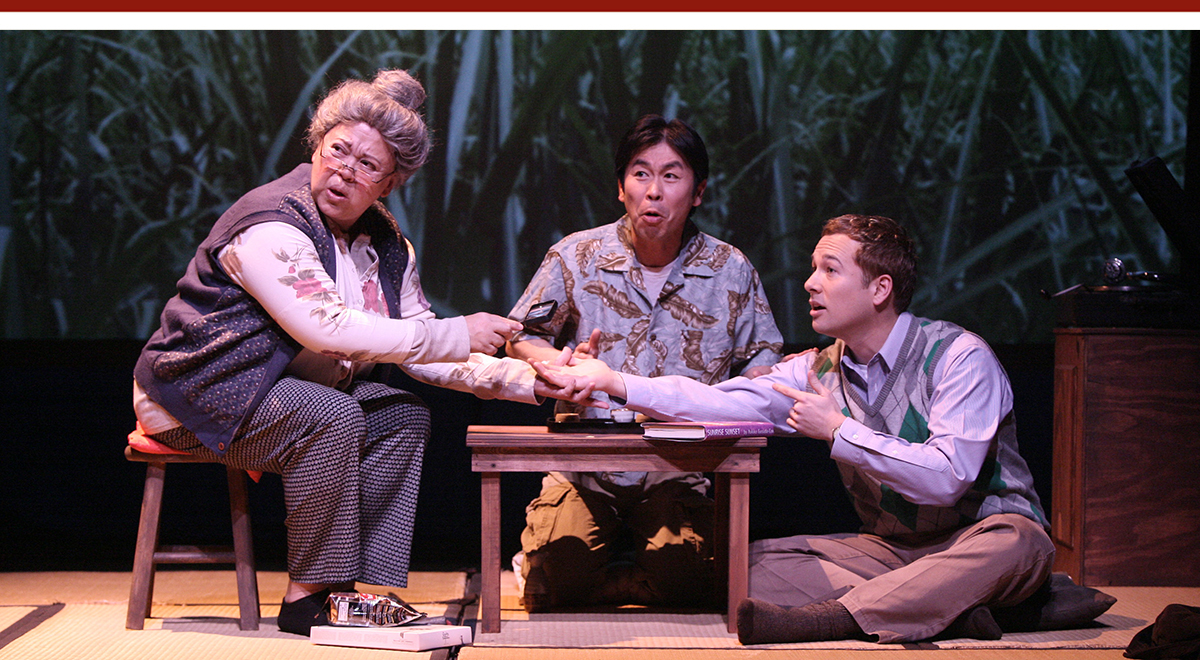 Amy Hill, Kotaro Watanabe, and Joseph Kim in 'Voices From Okinawa' at East West Players. Photo by Michael Lamont