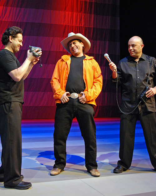 Ric Salinas, Richard Montoya, and Herbert Siguenza in 'Culture Clash in AmeriCCa' at South Coast Repertory. Photo by Henry DiRocco