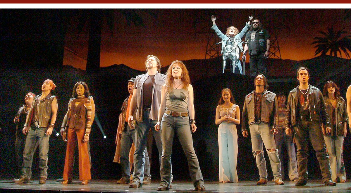 Greg Evigan and Michelle Duffy, front, and Allen E. Read, top, with full cast of 'Mask' at the Pasadena Playhouse. Photo by Ed Krieger
