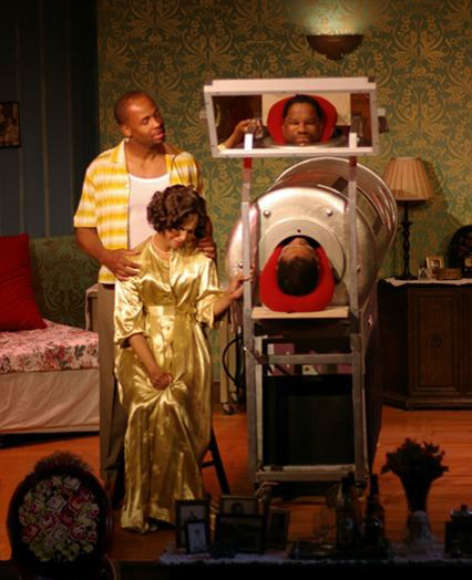 Shon Fuller, Nancy Renee and Dan Martin in Towne Street Theatre's 'Nevis Mountain Dew.'