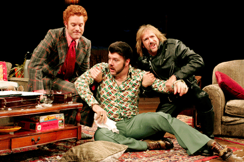 Kasey Mahaffey, Rob Nagel and Louis Lotorto in 'Taking Steps' at South Coast Repertory. Photo by Henry DiRocco