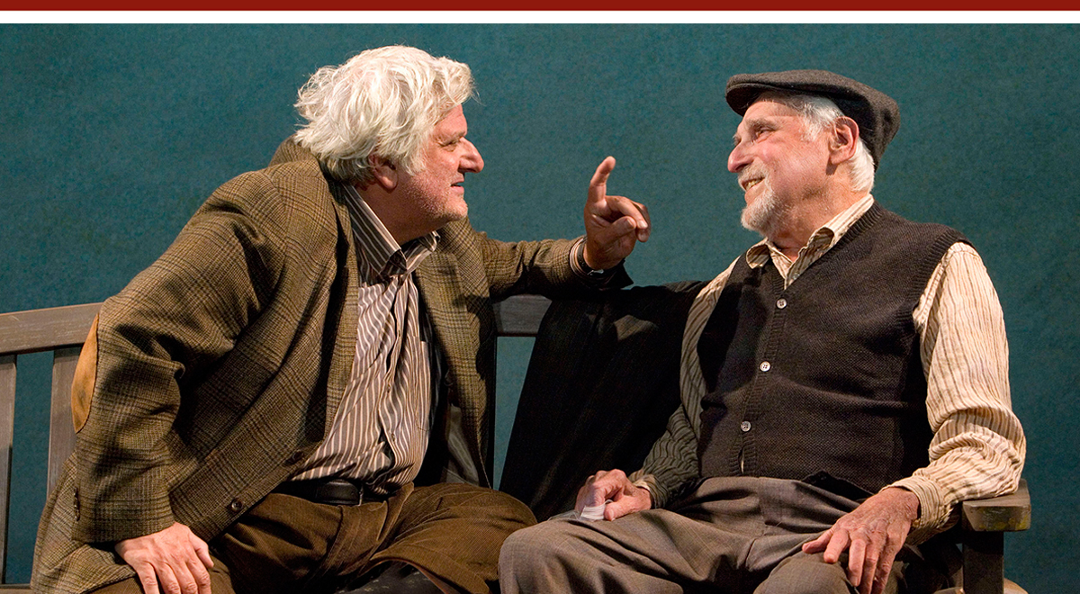 Michael Lerner and Harold Gould in 'Duck Variations,' one of ''Two Unrelated Plays' at the Kirk Douglas Theatre. Photo by Craig Schwartz
