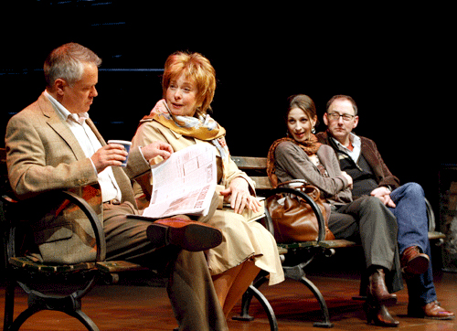 Matthew Arkin, Jenny O'Hara, Marin Hinkle and Arye Gross in Richard Greenberg's 'Our Mother's Brief Affair' at South Coast Repertory. Photo by Henry DiRocco