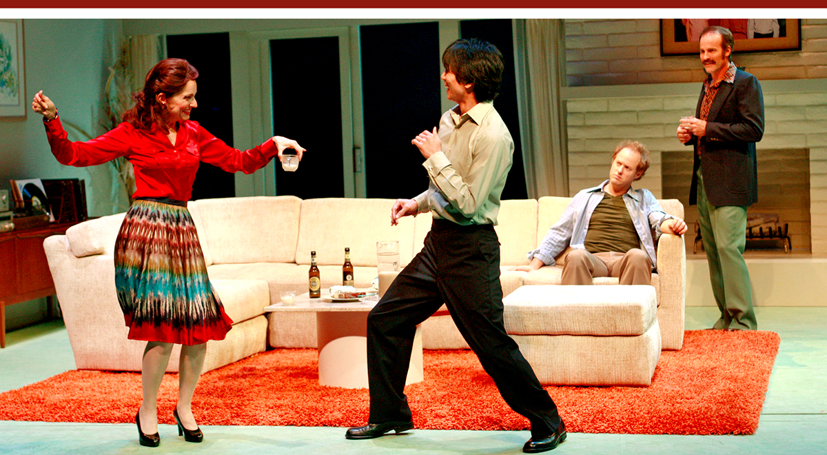Nike Doukas, Greg Watanabe, Raphael Sbarge, Geoffrey Lower in 'The Happy Ones' at South Coast Repertory. Photo by Henry DiRocco