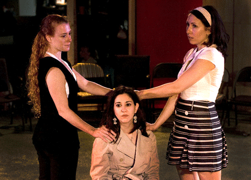 Marwa Bernstein, Marci Adelman and Carolyn Zanelli in 'Anton in Show Business' at X Repertory Theatre. Photo by Jamie Chura