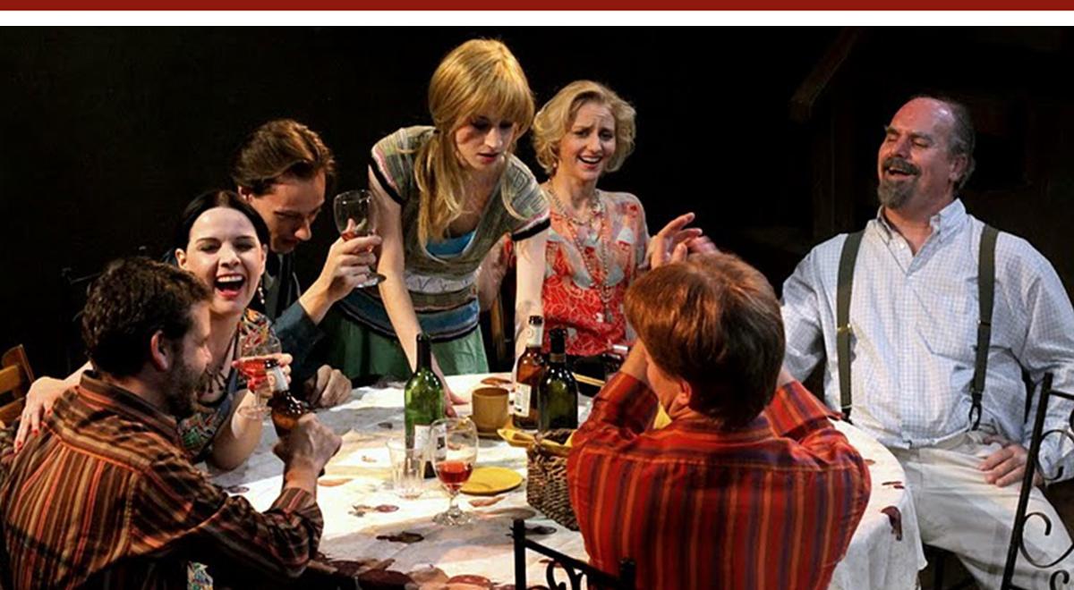 Benjamin Burdick, Amanda Weier, John Dimitri, Maxie Solters, Rona Nix, Will Kepper, Matt Roe in 'Rock 'n' Roll' at Open Fist Theatre. Photo by Tom Burruss