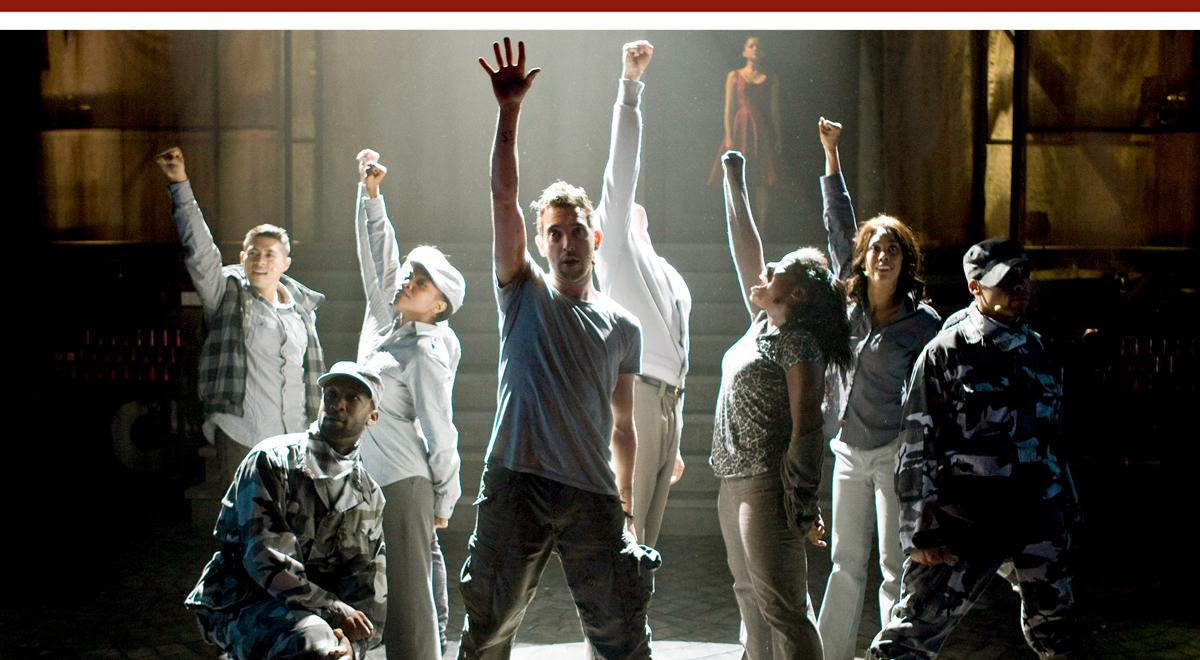 Matt Sax (center) leads the cast in a scene from 'Venice' at the Kirk Douglas Theatre. Photo by Craig Schwartz