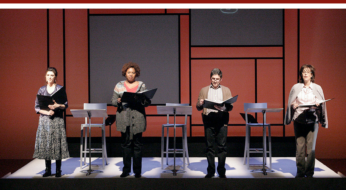 Amy Pietz, Saidah Arrika Ekulona, James Lecesne and Jane Kaczmarek in 'In Mother Words' at the Geffen Playhouse. Photo by Michael Lamont