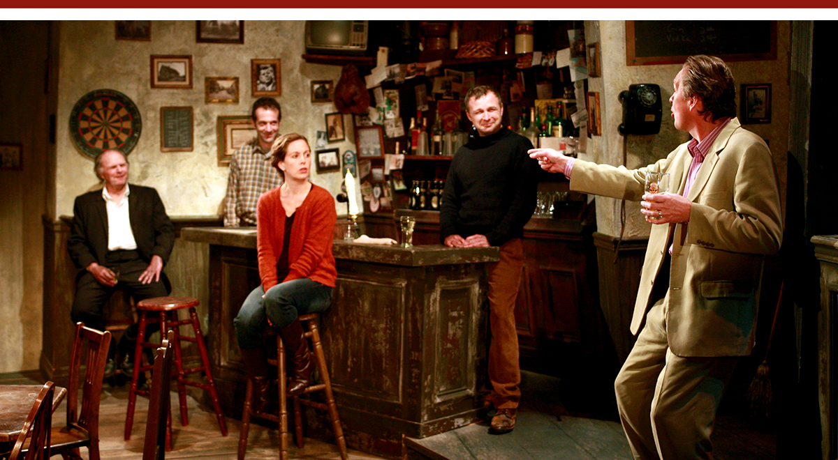 Richard Doyle, Daniel Reichert, Tony Ward, Kirsten Potter and James Lancaster in 'The Weir' by Conor McPherson. Photo by Henry DiRocco.
