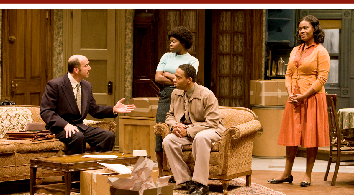 Scott Mosenson, Kenya Alexander, Kevin Carroll and Deidre Henry in 'A Raisin in the Sun' at Ebony Repertory Theatre. Photo by Craig Schwartz