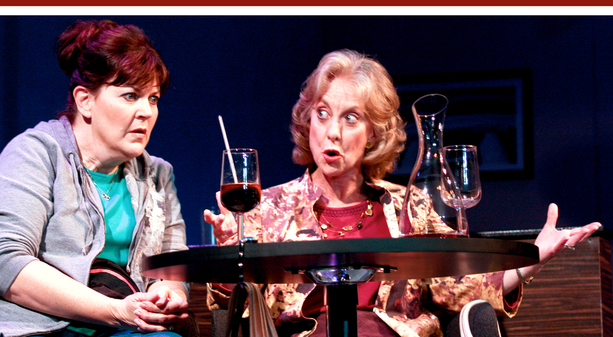 Melinda Gilb and Ellen Crawford in 'Walter Cronkite is Dead' at San Diego Rep. Photo by Daren Scott.