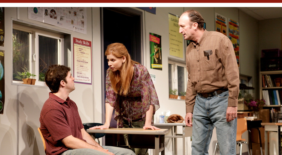 Jarrett Sleeper, Sarah Rafferty, and Time Winters in 'How the World Began' at South Coast Repertory