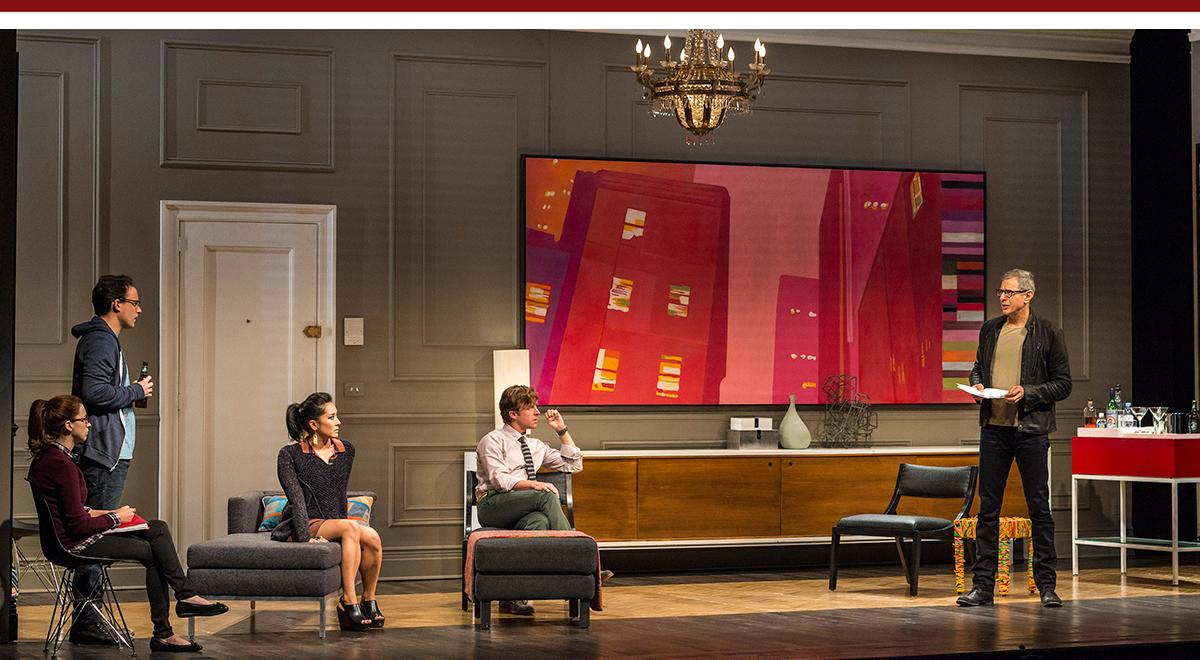 Aya Cash, Greg Keller,  Jennifer Ikeda, Lucas Near-Verbrugghe and Jeff Goldblum in Teresa Rebeck's Seminar at the Ahmanson Theatre, photo by Craig Schwartz