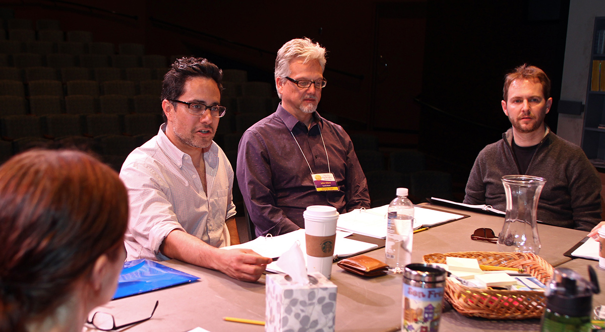 Playwright Rajiv Joseph, SCR Associate Artistic Director John Glore, and Director Matt Shakman, at a rehearsal for the 2014 PPF Reading of 'Mr. Wolf.'