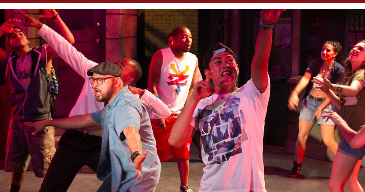 Izzy Perez, Charles McCoy, Joshua Lopez, Fabio Antonio, Rubel Carbajal, Stephanie Inglese and Monika Pena in In The Heights