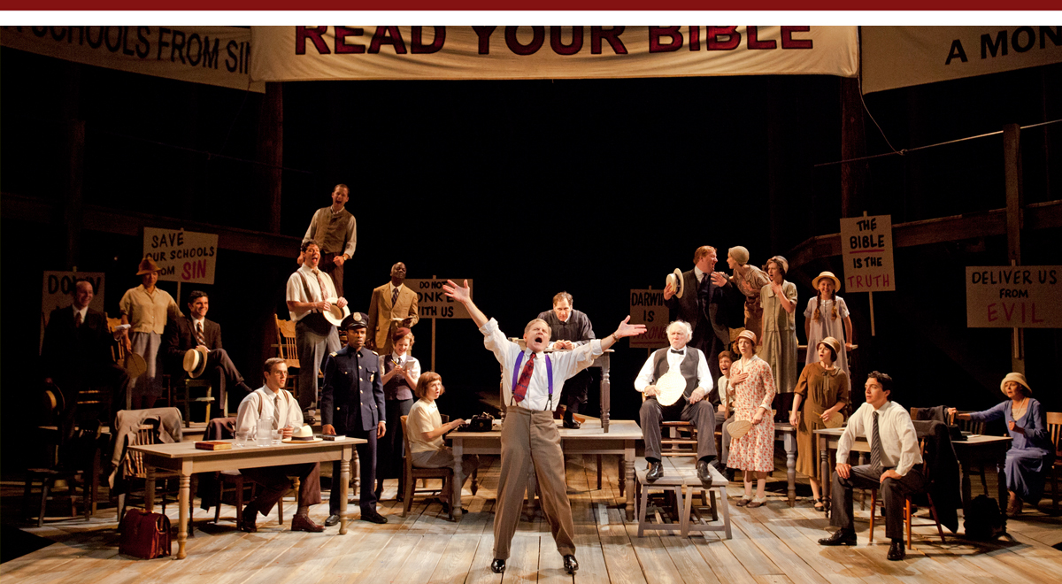 Robert Foxworth, center, with the cast of Inherit the Wind at The Old Globe