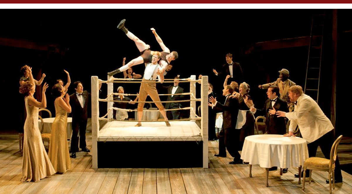 Dan Amboyer, Matthew Bellows, center, with full cast of As You Like It at The Old Globe