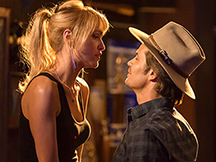 "Jenn Lyon and Timothy Olyphant in ""Justified"""
