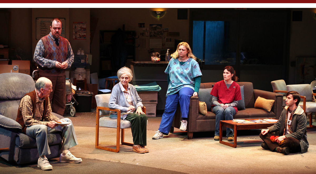 Hal Landon Jr., Rob Nagle, Lynn Milgrim, Libby West, Sue Cremin and Wyatt Fenner in Samuel D. Hunter's Rest at SCR