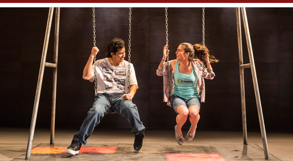 Erick Lopez and Savannah Lathem in different words for the same thing at Kirk Douglas Theatr)