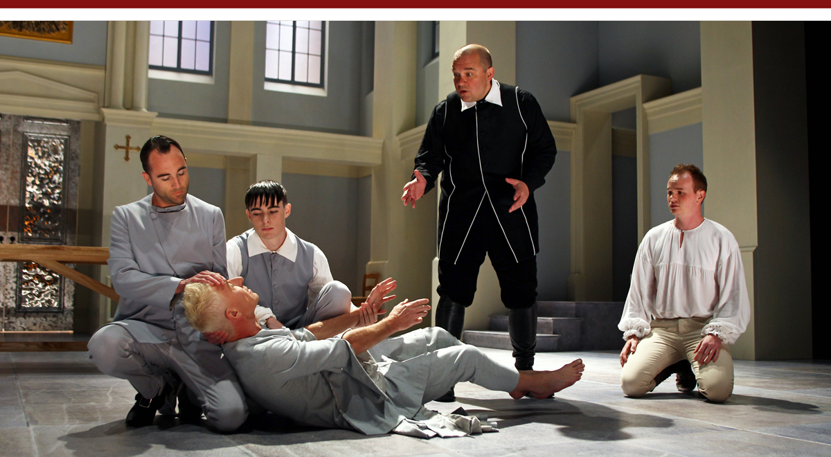 Nathan Keepers, Steven Epp, Nick Slimmer, Luverne Seifert and Brian Hostenske in Tartuffe at South Coast Repertory