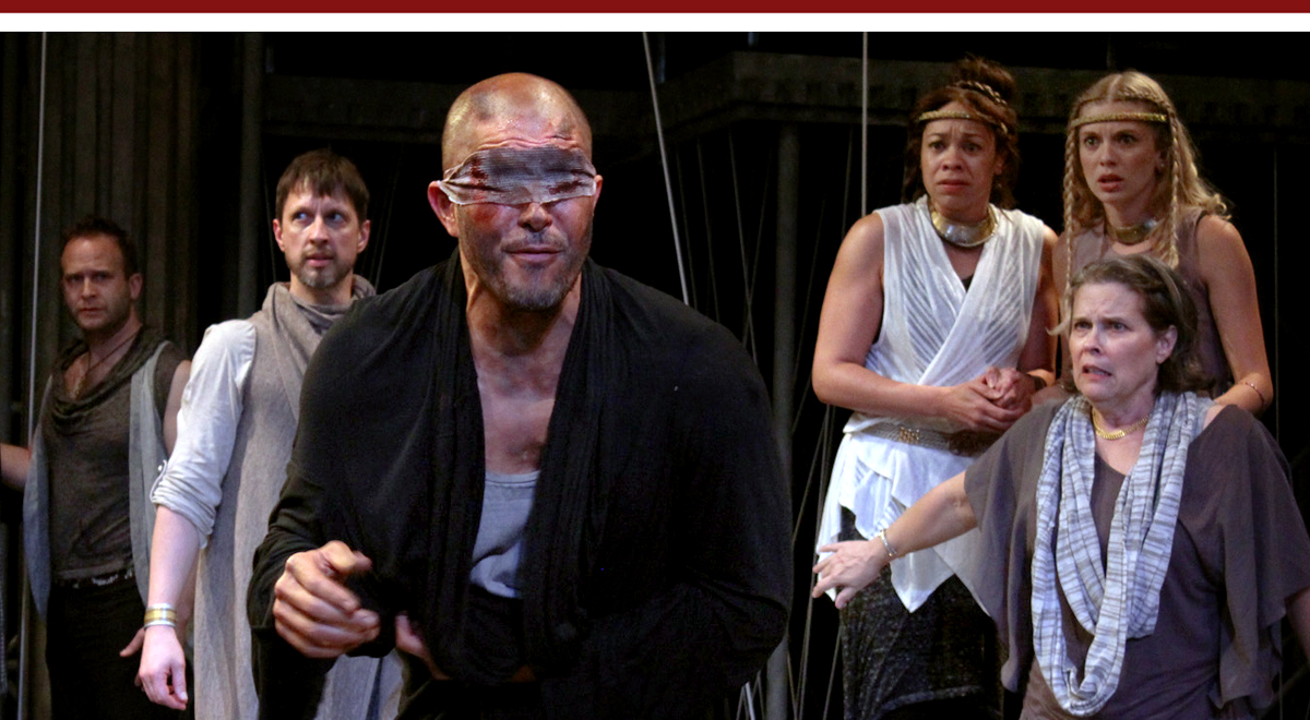 Adam J. Smith, Chad Borden, Terrell Tilford, Kwana Martinez, Lindsay LaVanchy and Susan Boyd Joyce in The Curse of Oedipus at The Antaeus Theater
