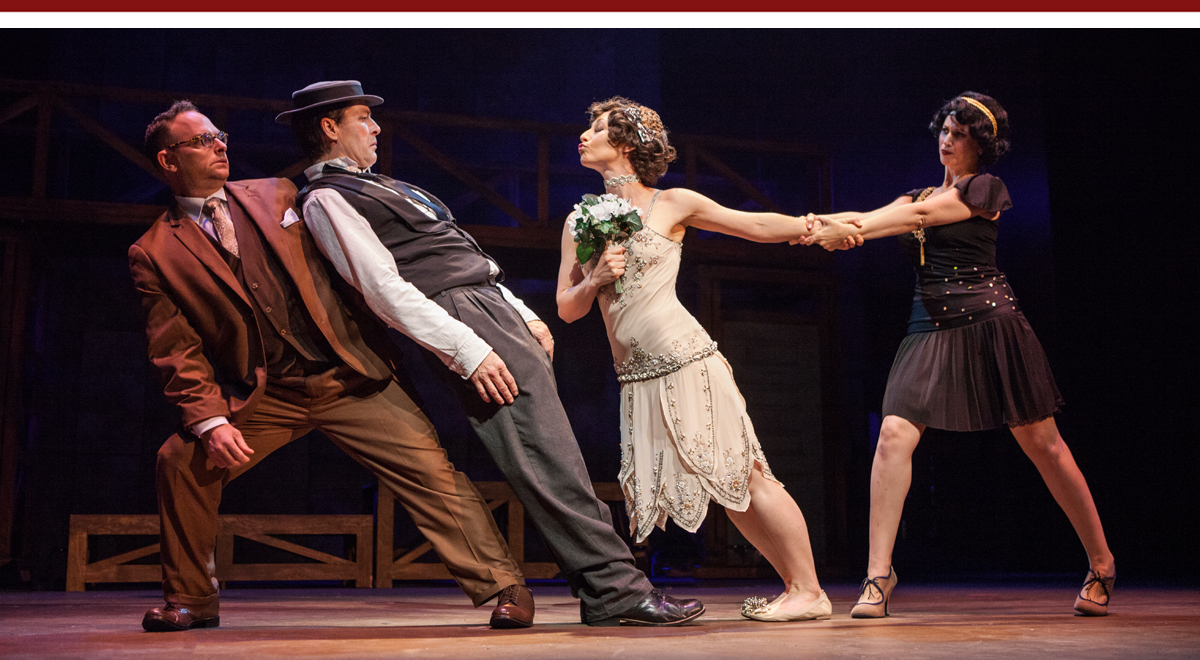 Jake Broder, French Stewart, Tegan Ashton Cohan and Rena Strober in Stoneface at the Pasadena Playhouse