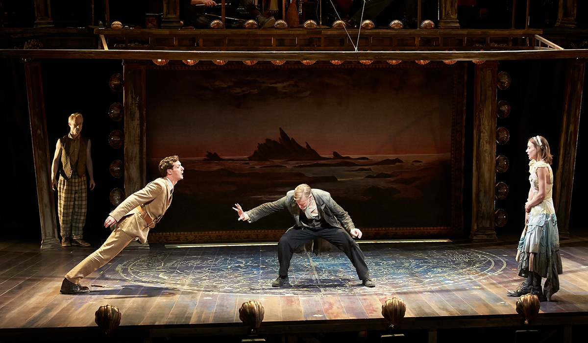 Nate Dendy, Joby Earle, Tom Nelis, and Charlotte Graham in a scene from The Tempest at South Coast Repertory
