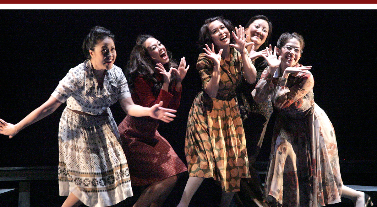 Joan Almedilla, Jennie Kwan, Yumi Iwama, Janet Song and Tiffany-Marie Austin in East West Players 'Tea, with Music'
