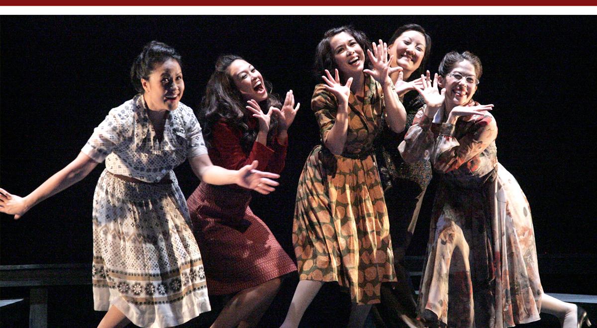 Joan Almedilla, Jennie Kwan, Yumi Iwama, Janet Song and Tiffany-Marie Austin in East West Players 'Tea, with Music'