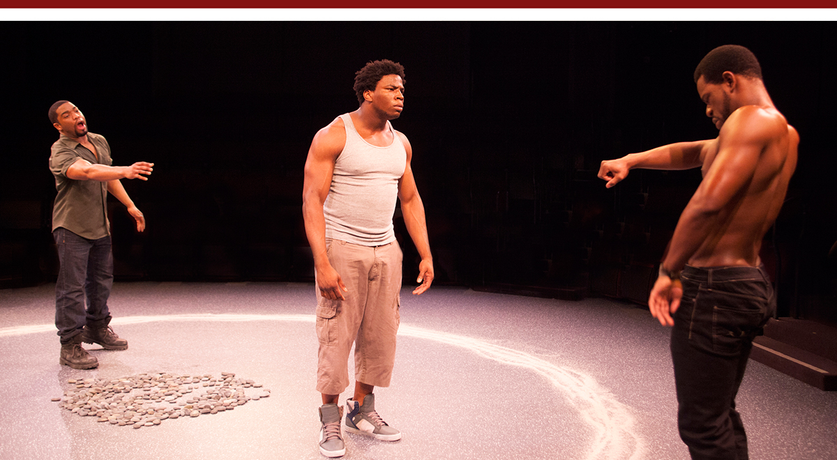 Joshua Elijah Reese, Okieriete Onaodowan, Antwayn Hopper in The Brothers Size at The Old Globe, photo by Henry DiRocco