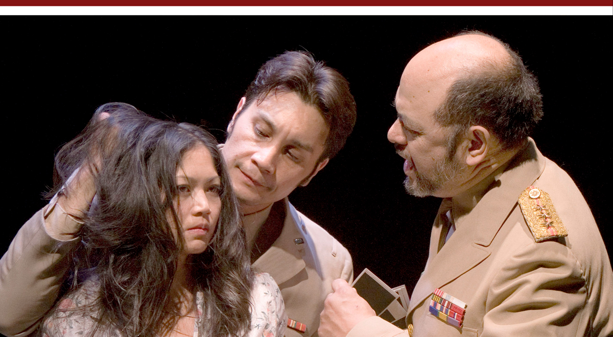 Esperanza Catubig, Gino Aquino and Dom Magwili in Jessica Hagedorn's 'Dogeaters' at the Kirk Douglas Theatre, photo by Craig Schwartz