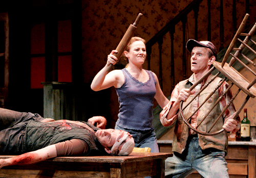Brad Fleisher, Blake Lindsley and Steve Rankin in Pig Farm at South Coast Repertory