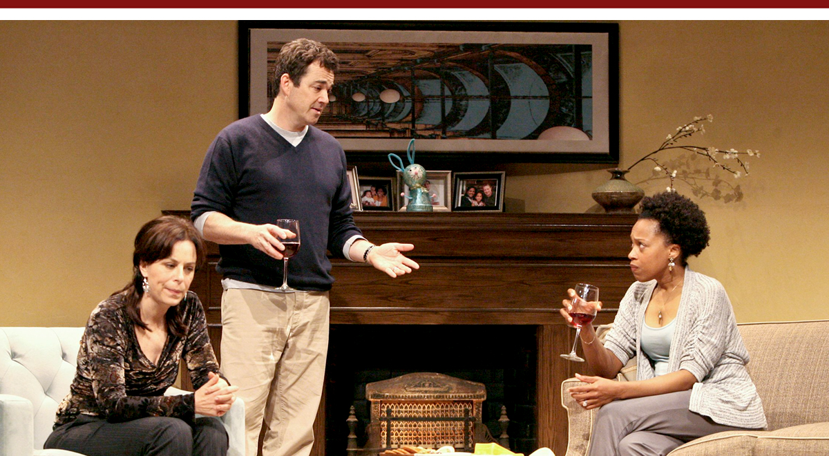 Jane Kaczmarek, Jon Tenney, and Cherise Boothe in Good People at the Geffen Playhouse; photo by Michael Lamont