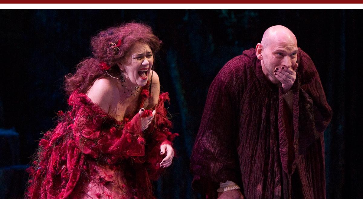 Deborah Strang and Jeff Doba in Tony Kushner's adaptation of Pierre Corneille's The Illusion; photo by Craig Schwartz
