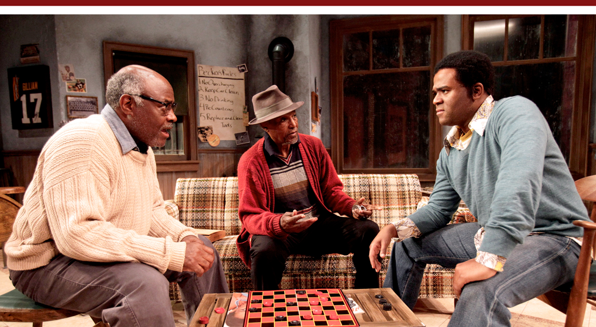 Ellis E. Williams, David McKnight and Larry Bates in Jitney at South Coast Repertory; photo by Henry DiRocco