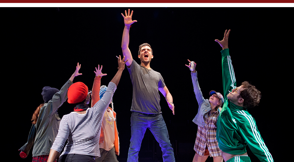 Adam Kantor, center, with, left to right, Kate Morgan Chadwick, Nicole Lewis, Alex Brightman, Lauren Molina, and Kelsey Kurz in Nobody Loves You at The Old Globe; photo by Henry DiRocco