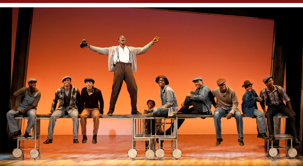 Clifton Duncan (center) and the cast of The Scottsboro Boys at The Old Globe; photo by Henry DiRocco