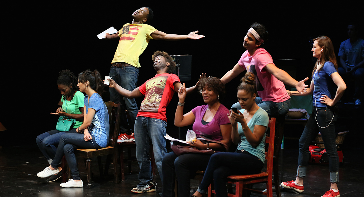 "Ameenah Kaplan, Linda Park, Aaron Jennings, Lorenz Arnell, Deidrie Henry, Tessa Thompson, Erick Lopez and Deborah Puette in ""Facing Our Truth,"" at Kirk Douglas Theatre; Photo by Ryan Miller"